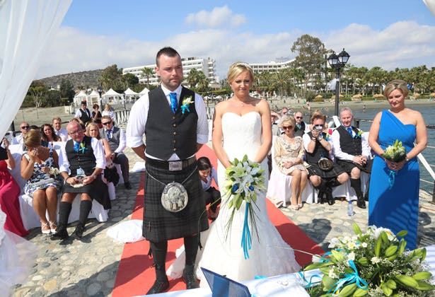 The bride and groom at the ceremony