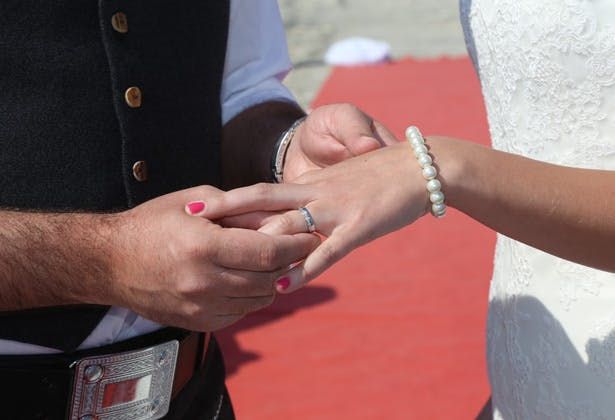 The happy couple exchanging rings