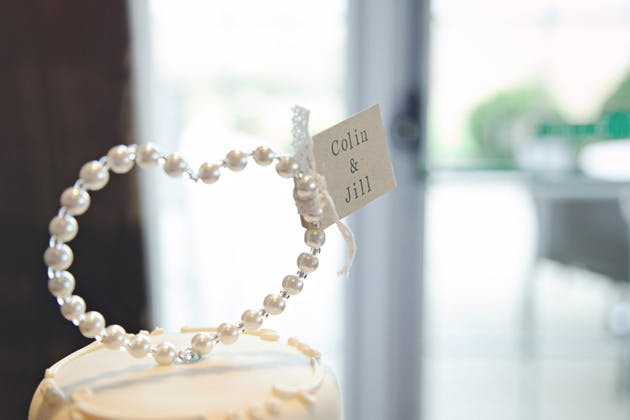 Pearl and diamante personalised heart cake topper