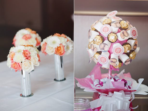 Coral and ivory bridesmaids bouquets and a Ferrero Rocher tree