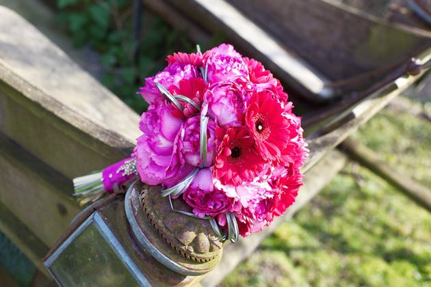 Fuchsia pink fresh flower bridal bouquet