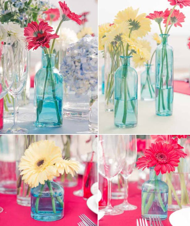 Colour Glass Vase With Bright Coloured Gerbras