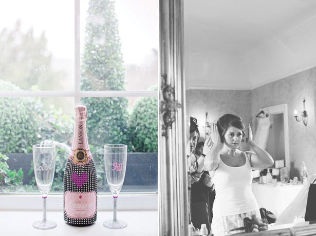 Personalised champagne and flutes