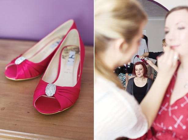 Fuchsia pink pep toe bridal shoes