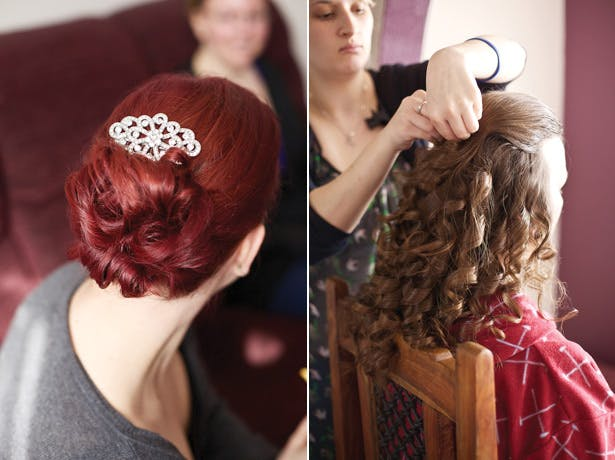 Wedding hair up with diamante clip