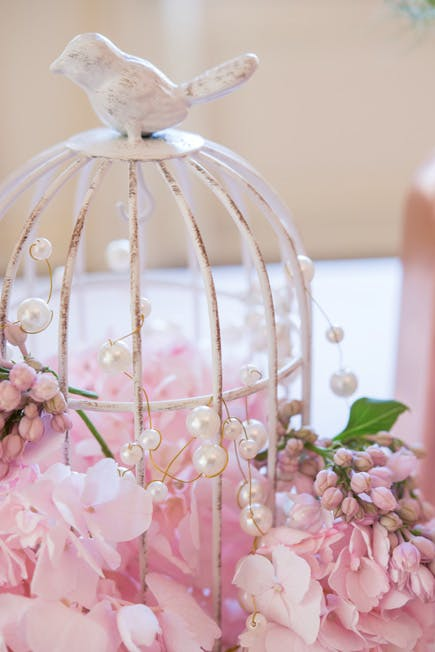 Pretty Pink and White Wedding Birdcage Centrepiece | Confetti.co.uk