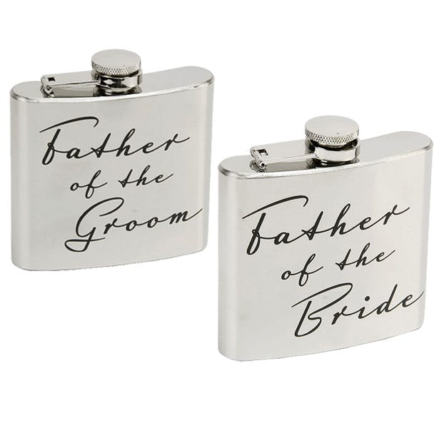 Personalised father of the bride and groom hip flask