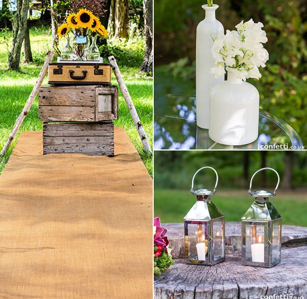 Burlap Aisle Runner With Silver Lanterns and Glass Bottles