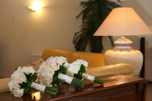 White and ivory rose wedding bouquets