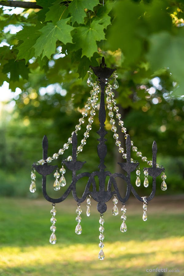 Metal black chandelier with crystals