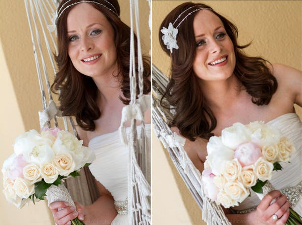 The bride in her House of Fraser wedding dress and vintage bouquet