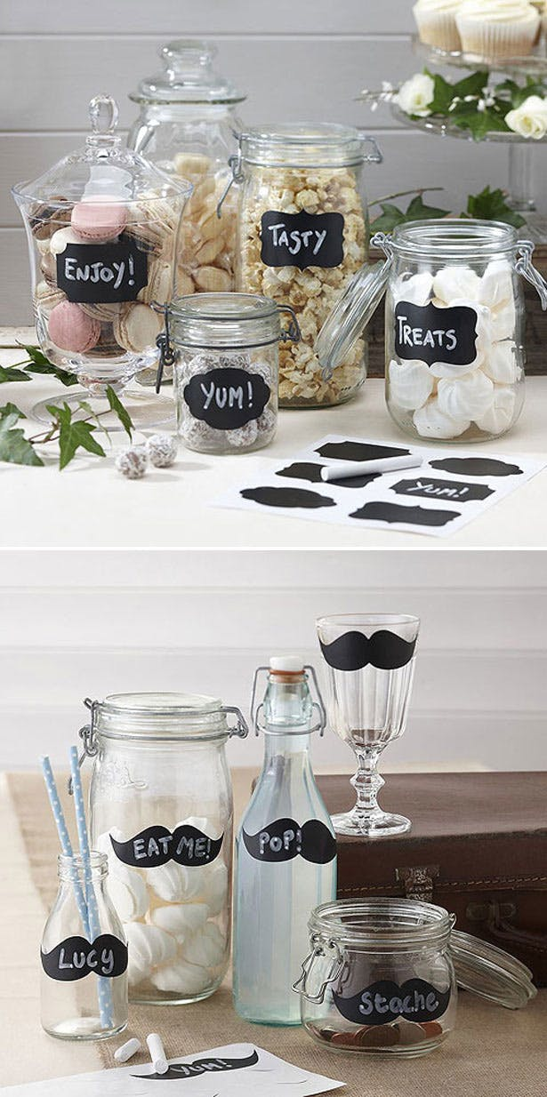 Chalk Label Stickers for Wedding Receptions