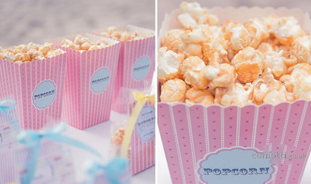 DIY Friday Popcorn Favour Box Pink Stripes
