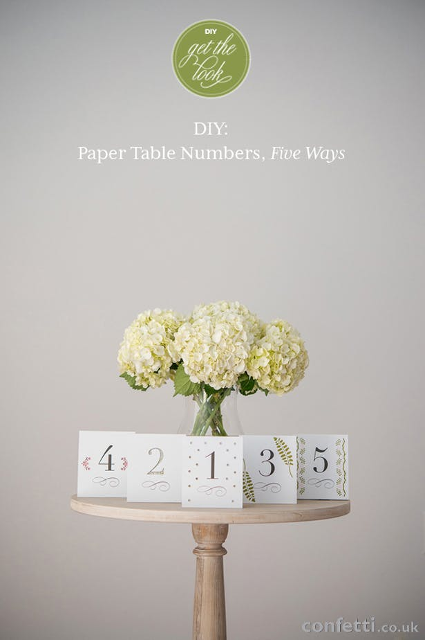 DIY Article Paper Table Numbers, Five Ways