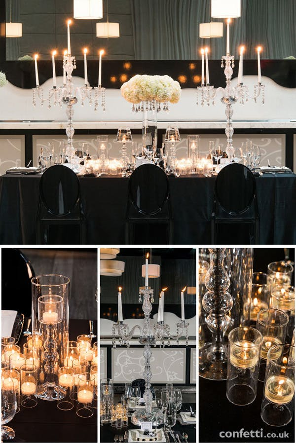 Black and white wedding theme |Crystal chandleries and candle light | Confetti.co.uk