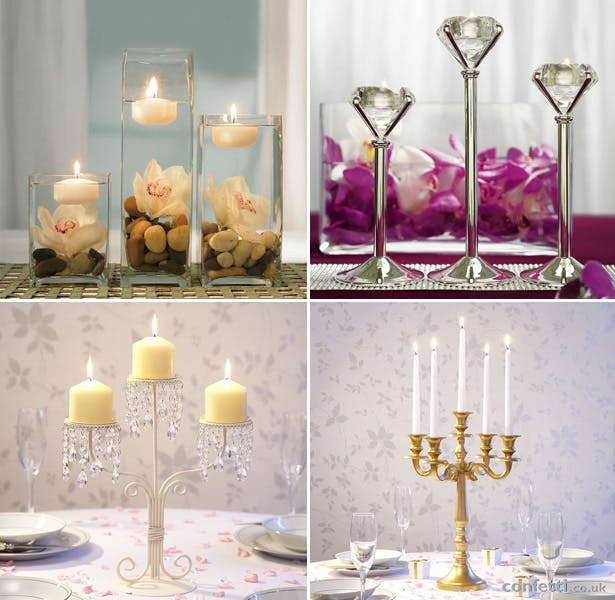 Wedding table centrepieces with candles | Confetti.co.uk