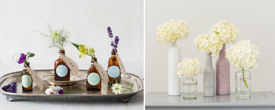 DIY Bottles with Flowers | Confetti.co.uk