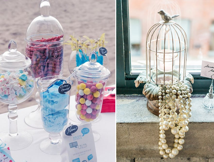 Tall wedding decor, jars, and birdcages | Confetti.co.uk