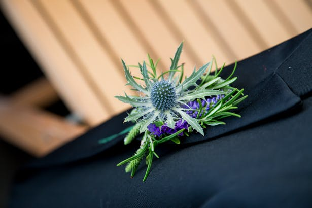 Thistle buttonhole for the groom | Confetti.co.uk