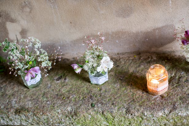 DIY jars with lace flowers and candles | Confetti.co.uk