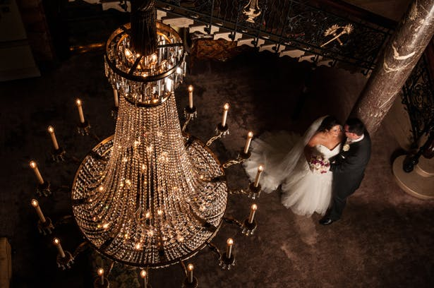 Bride and Groom with Crystal Chandelier