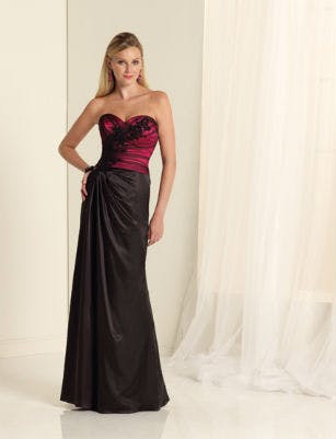 Two-tone red and black bridesmaid dress by Sophia Tolli