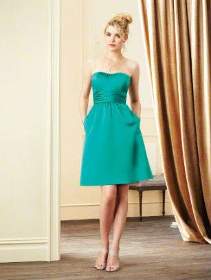 Short blue bridesmaid dress by Alfred Angelo