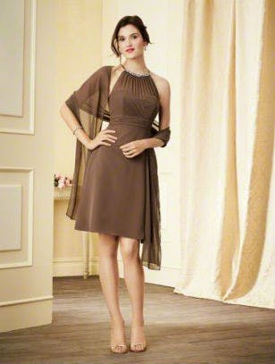 Short brown bridesmaid dress by Alfred Angelo