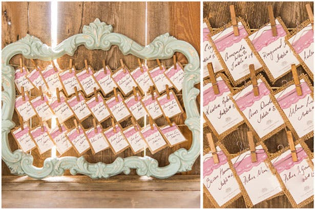 Rustic Vintage wedding seating plan with burlap place cards | Confetti.co.uk