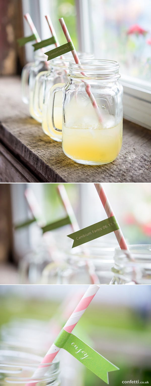 Mason jar with signature wedding drink with a personalised striped straw | Confetti.co.uk
