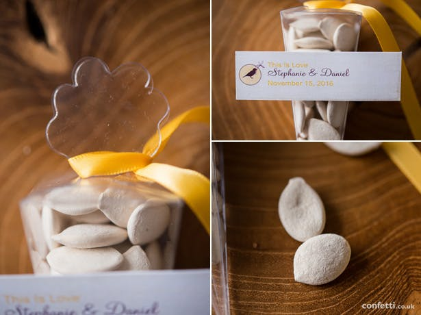 Autumnal pumpkin seeds are an easy way to incorporate seasonality into your wedding favours from Confetti.co.uk