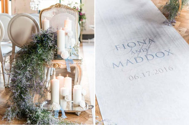 Pillar candle aisle decor | Personalised white aisle runner | Confetti.co.uk