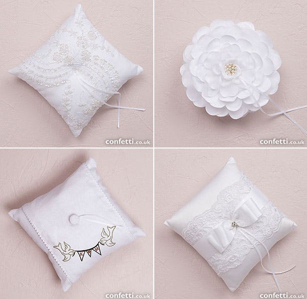 Collection of vintage inspired ring cushions | Confetti.co.uk