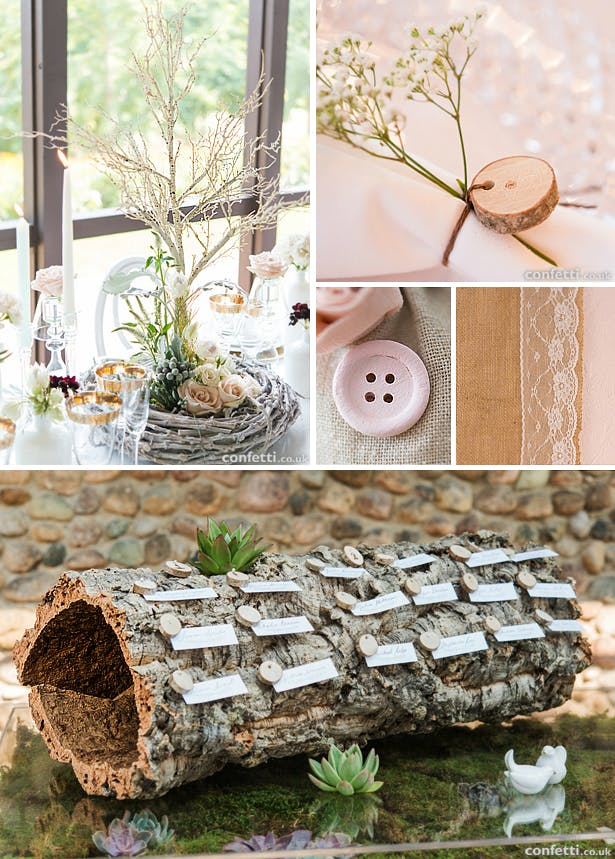 Woodland wedding table decoration, guest books and accessories | Confetti.co.uk