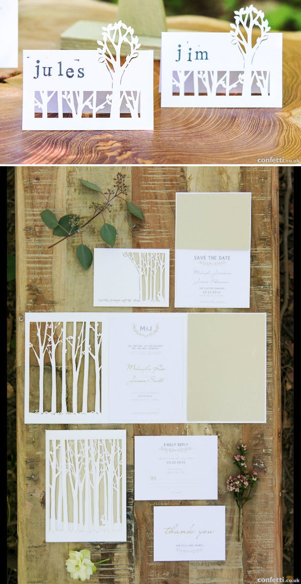 Autumn woodland wedding stationery including invitations, RSVP, SAve the Date. and place cards | Confetti.co.uk