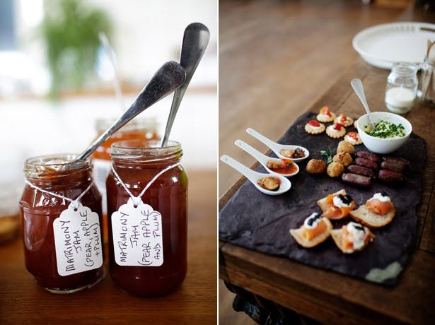Styling Autumn Wedding | Real Wedding Autumn Wedding Food Ideas | Image courtesy of Julie Kim| James, Chutneys and Canapés on a slate tray for your Autumn Wedding |Confetti.co.uk