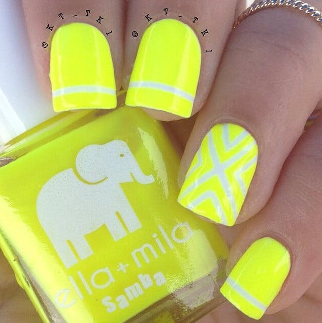 Get the geometric look with this luminescent yellow nails | Confetti.co.uk