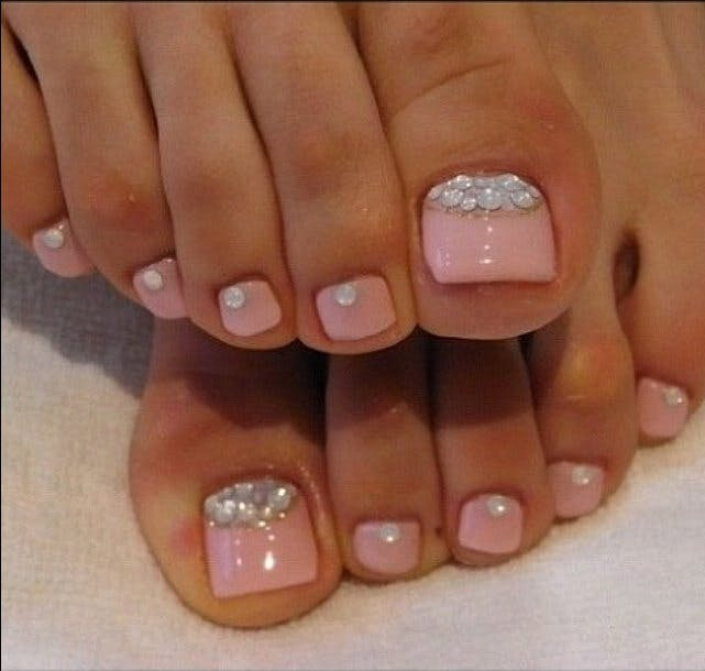 A blingy pedicure is an easy way to inject elegance into your W Day look | Confetti.co.uk