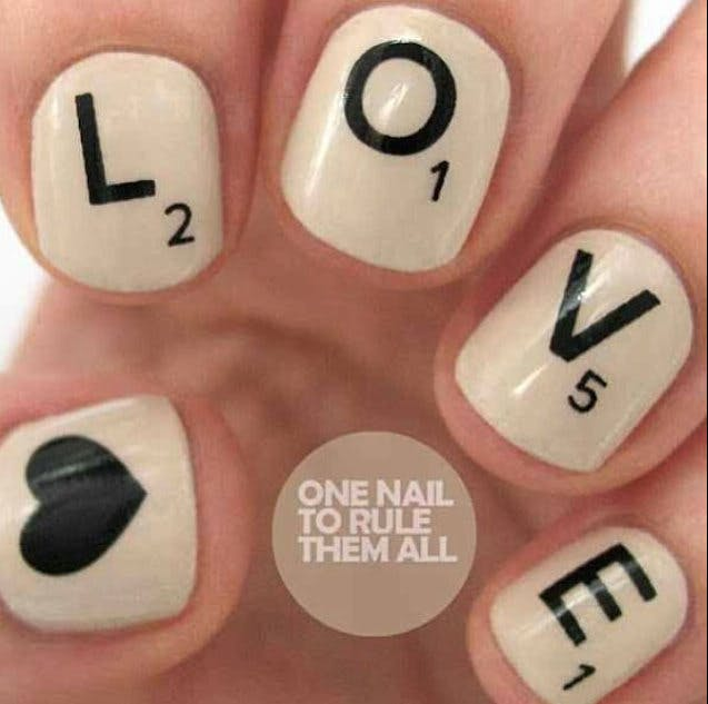 Put spell on your betrothed with these wordy bridal nails | Confetti.co.uk