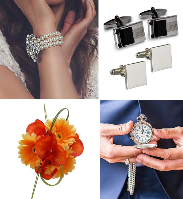 Wrist wedding accessories for the bride and groom - bracelet, cufflinks, corsage, watch