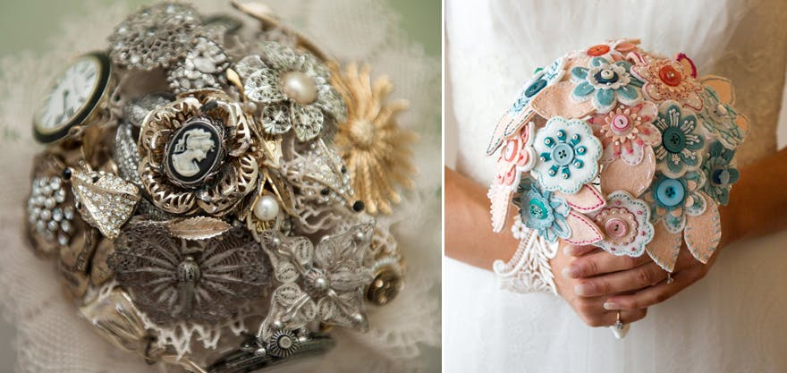 Brooch and Button Wedding Bouquets | Confetti.co.uk
