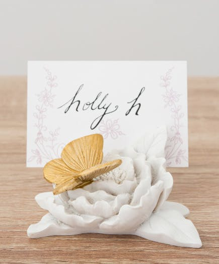 Butterfly Gold Accent with Place Card - Gold-painted butterfly decorative place card holder, featuring our Forget Me Not Large Rectangular Tag | Confetti.co.uk