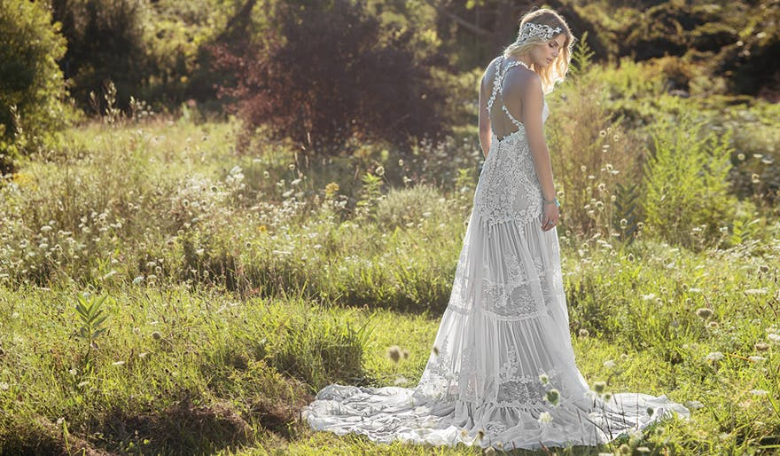 Eco Friendly Wedding Dresses - Chantilly Lace and Chiffon Gown with Tiered Skirt and Criss Cross Straps - Style 6491 by Lillian West | Confetti.co.uk