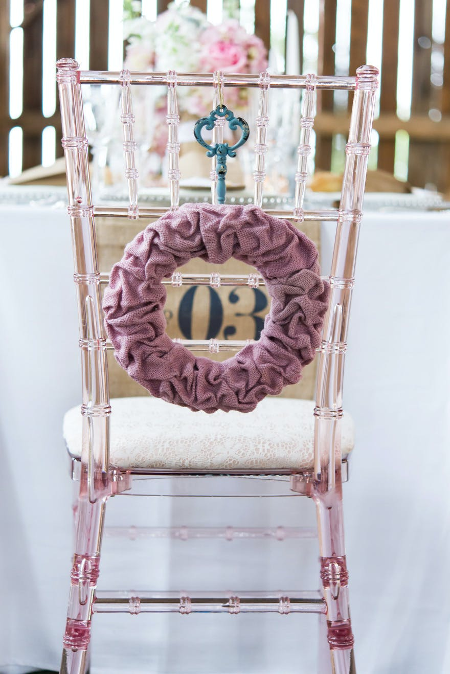 Pink and White Barn Wedding Chair Back Decoration   Confetti.co.uk