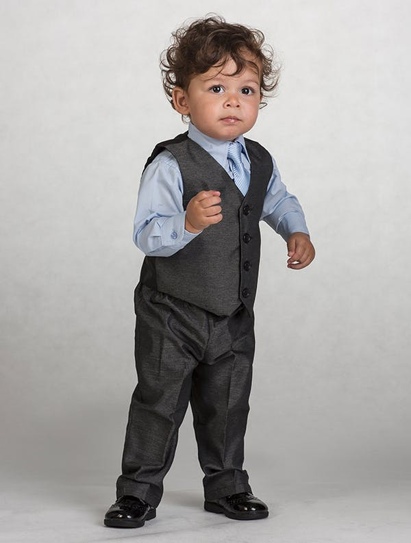 The classic look for a page boy in gun metal grey and ice blue. | Confetti.co.uk