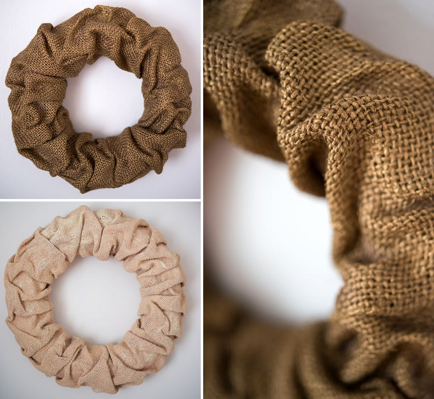 Spray Painted Wreaths - Pink, ivory, and gold DIY burlap wreaths   Confetti.co.uk