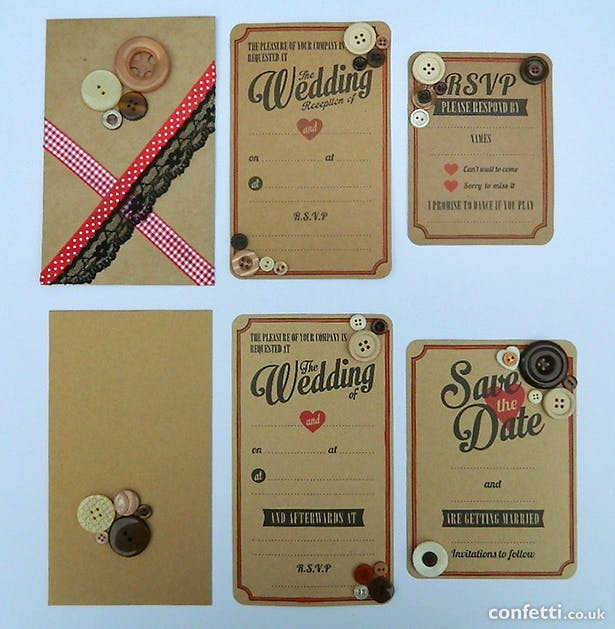 Vintage red and brown buttons, lace, and ribbon wedding stationery | Confetti.co.uk