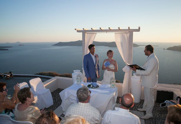 White and blue wedding outdoor ceremony  Dasha and Steve's Real Wedding In Greece   Marryme in Greece   Confetti.co.uk