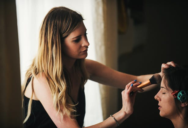 Rosie Finnagan  Makeup artist getting the bride ready for her big day | Francesca & Arun's Fusion Real Wedding | Confetti.co.uk