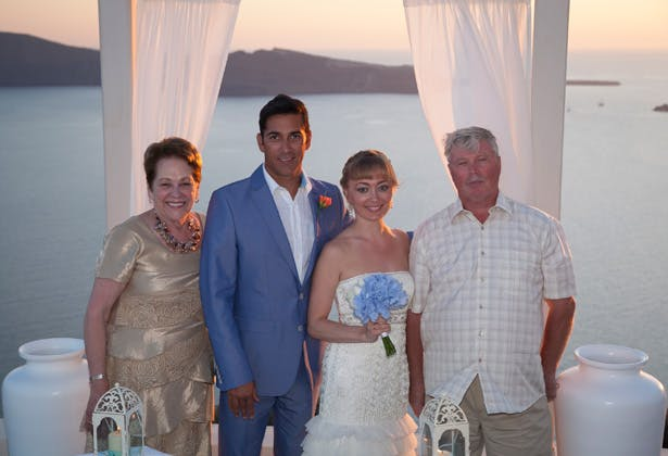 The newlyweds with the brides parents   Wedding moments   Dasha and Steve's Real Wedding In Greece   Marryme in Greece   Confetti.co.uk